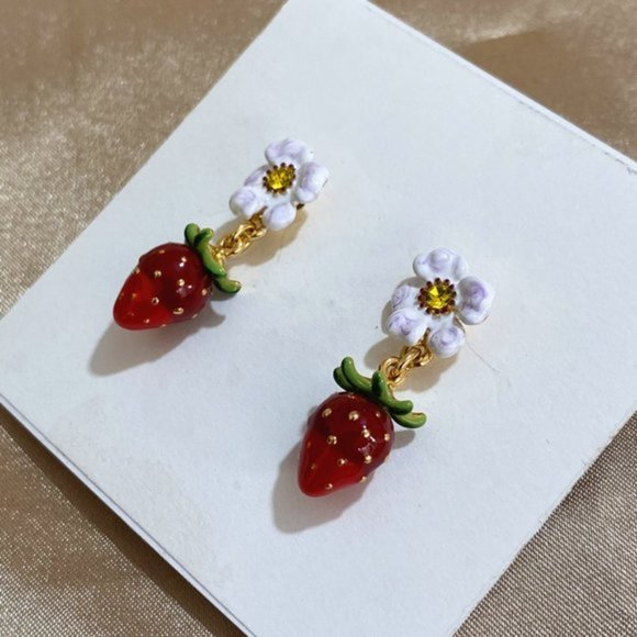 Strawberries w Flower Earrings